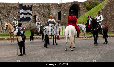 A group of  mounted Knight in full Armour  getting ready for an English Heritage Jousting Tournament at Dover Castle,  August 2018 - Stock Image