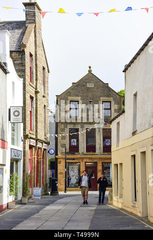 Albert Street from Bridge Street, Kirkwall, The Mainland, Orkney Islands, Northern Isles, Scotland, United Kingdom - Stock Image