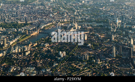 Early morning aerial view of Central London from the south. - Stock Image
