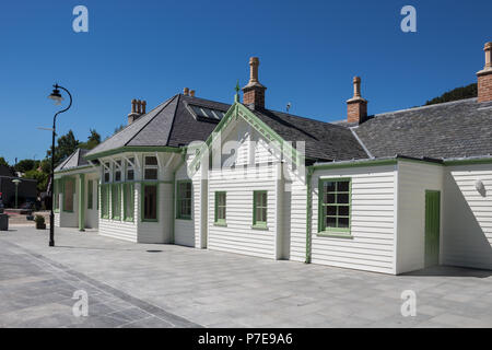 The newly rebuilt railway station in Ballater, Aberdeenshire, Scotland, UK. built on the same site as the original which burnt down. - Stock Image