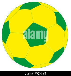 soccer football sport hexagon ball  yellow green illustration - Stock Image