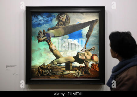 Painting 'Premonition of Civil War' (1936) by Salvador Dali displayed at his exhibition in the Pompidou - Stock Image