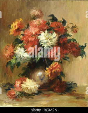Still life with dahlias. Museum: Foundation E. G. Bührle Collection, Zurich. Author: Renoir, Pierre-Auguste. - Stock Image