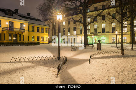Night winter view of Spökparken, in Vasastan, central Stockholm, Sweden.  Schefflerska palace facade is to - Stock Image
