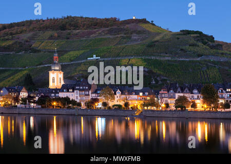 View over Moselle River to Zell, Collis Turm Tower, Rhineland-Palatinate, Germany, Europe - Stock Image