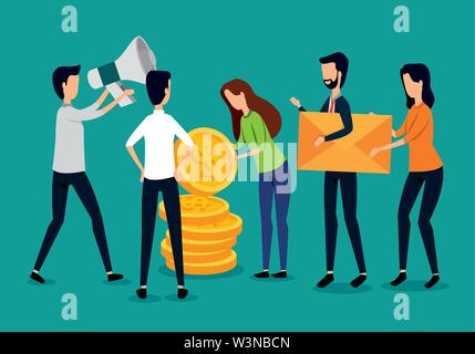 businessmen and businesswomen teamwork with coins and megaphone - Stock Image