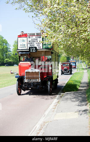 West Sussex, UK, 6 May 2018. Vehicles on the 57th Historic Commercial Vehicle Society London to Brighton Run pass through Staplefield, West Sussex.  The run starts from Crystal Palace, London and finishes at Madeira Drive, Brighton and is open to commercial vehicles built before 1998. Credit: Susan Norwood/Alamy Live News - Stock Image