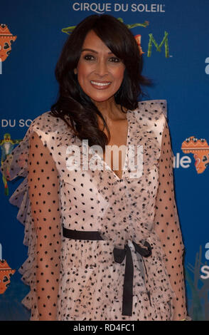London, United Kingdom. 16 January 2019. Jackie Sinclair arrives for the red carpet premiere of Cirque Du Soleil's 'Totem' held at The Royal Albert Hall. Credit: Peter Manning/Alamy Live News - Stock Image