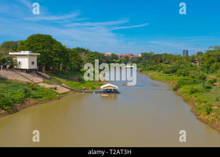 Boat pier, Sangke river, Battambang, Cambodia, Asia - Stock Image