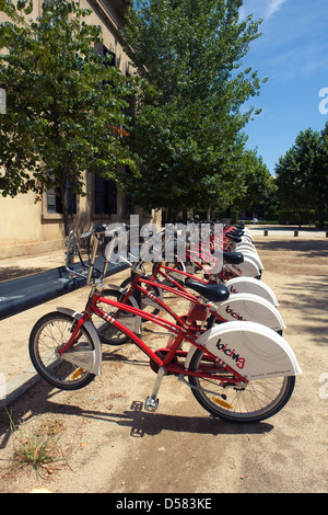 Rack of Bicing bicycles sharing system, Barcelona, Catalonia, Spain - Stock Image