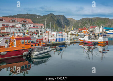 Harbour and Village Of Honningsvag, Norway - Stock Image