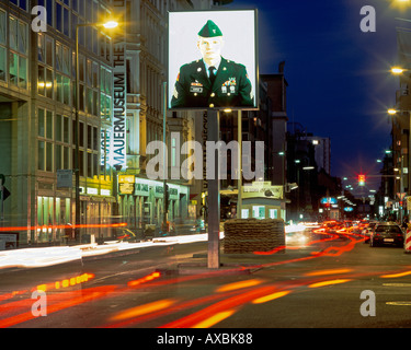 berlin friedrichstr at checkpoint charly historic border crossing at southern end of friedrichstrasse museum - Stock Image