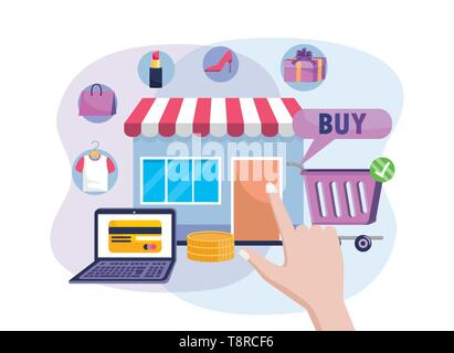 digital market sale with laptop ecommerce technology and shopping cart vector illustration - Stock Image
