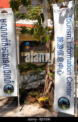 Cambodia, Preah Koh Kong, Krong Khemara Phoumin, Tourism Information Centre building on riverfront - Stock Image