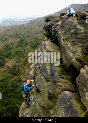 Climber on The Roaches, The Peak District, Staffordshire, UK - Stock Image