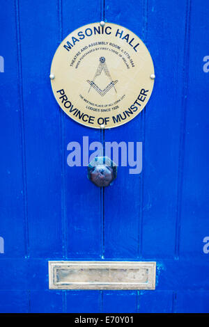 The door to The Masonic Hall in Cork, Ireland. - Stock Image