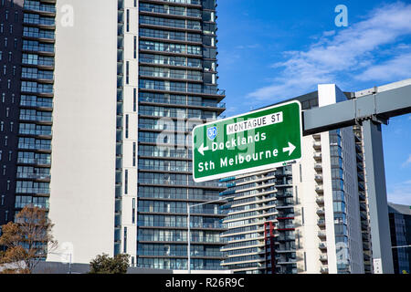 Approach to Melbourne city centre from the freeway,Melbourne,Victoria,Australia - Stock Image