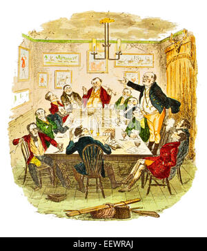 Mr Pickwick address to the club The Posthumous Papers of the Pickwick Club Charles John Huffam Dickens - Stock Image