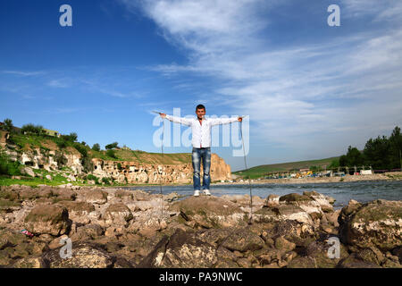 Local guy on the bank of Tigris river in Hasankeyf , Turkey - Stock Image