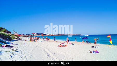 Port Beach on a hot, summer day with Fremantle in the distance. - Stock Image