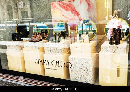 Jimmy Choo shoes, Jimmy Choo, Jimmy Choo shoe display, Jimmy Choo window display, Jimmy Choo shop display, Jimmy - Stock Image