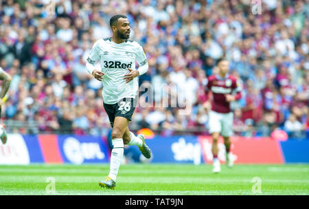 Ashley Cole of Derby during the EFL Sky Bet  Championship Play-Off Final match between Aston Villa and Derby County at Wembley Stadium , London , 27 May 2019 Editorial use only. No merchandising. For Football images FA and Premier League restrictions apply inc. no internet/mobile usage without FAPL license - for details contact Football Dataco - Stock Image
