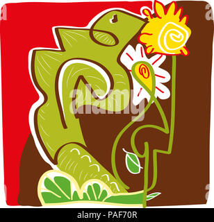 Sitting wizard.  illustration of wizard sitting on the tree branches with leaves and flowers. - Stock Image