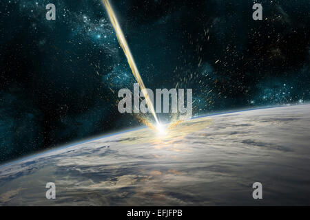 A meteor strikes Earth. Clouds cover an ocean area of the planet. Planetary material is ejected back into space. - Stock Image