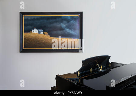 Black Piano & Painting In Music Room - Stock Image