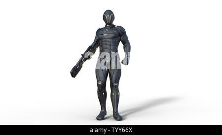 Futuristic android soldier in bulletproof armor, military cyborg armed with sci-fi rifle gun standing on white background, 3D rendering - Stock Image