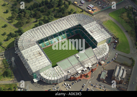 Aerial view of Celtic Football Club, also known as the Parkhead Stadium or Celtic Park, home to the Bhoys, the 'Tic of the Hoops - Stock Image