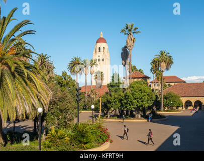 Stanford University campus, Main Quad with Hoover Tower - Stock Image