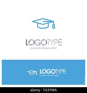 Academic, Education, Graduation hat Blue Outline Logo Place for Tagline - Stock Image