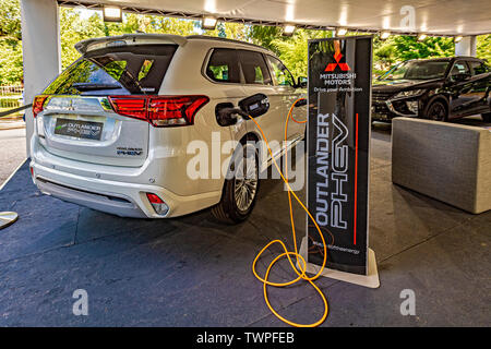 Turin, Piedmont, Italy. 22nd June 2019. Italy Piedmont Turin Valentino park Auto Show 2019 - Mitsubishi Motors - Outlander Phev Hibrid Credit: Realy Easy Star/Alamy Live News Credit: Realy Easy Star/Alamy Live News - Stock Image