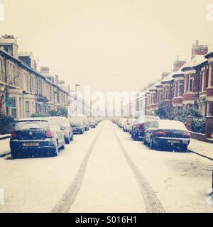 Snowy street - Stock Image