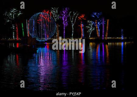 Phoenix Zoo Holiday Light show,  Phoenix, Arizona. - Stock Image