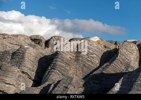 Weathered eroded dolostone / limestone pavement rock formation, Strath Suardal SSSI, Broadford, Isle of Skye, Scotland, UK. - Stock Image