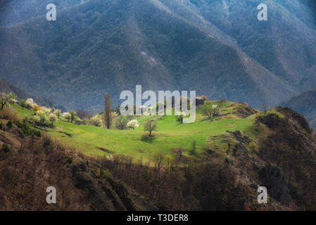 Abandoned village high in the mountain. Peace of paradise. - Stock Image