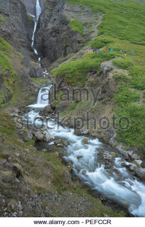 A waterfall in Iceland. - Stock Image
