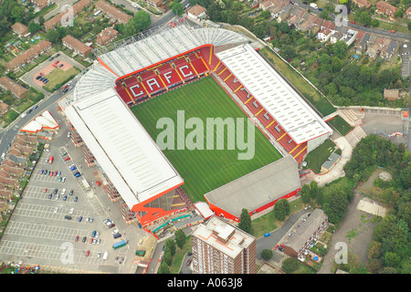 Aerial view of Charlton Athletic Football Club in London, also known as the Valley and is home to the Addicks or the Valliants - Stock Image