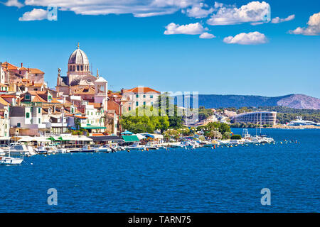 Old Sibenik historic waterfront and UNESCO cathedral view, Dalmatia region of Croatia - Stock Image