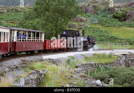 Narrow Gauge Steam Train, Welsh Highland Railway, Caernarvon to Rhyd Ddu, North Wales, UK - Stock Image