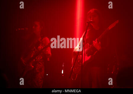 Brighton, UK. 17th May, 2018. The South London indie band Goat Girl play to a packed dimly lit The Arch venue on Brighton seafront on the first day of The Great Escape Festival 2018Credit: Scott Hortop Travel/Alamy Live News - Stock Image