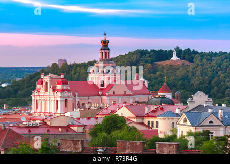 Old town at sunset, Vilnius, Lithuania - Stock Image