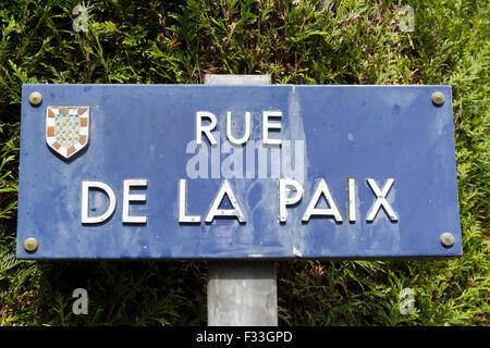 rue de la paix peace road french sign - Stock Image