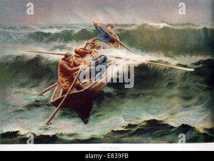 Lithograph Rowing boat in breakers circa 1885 - Stock Image