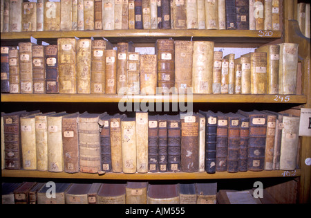 Very old books at bookshelves in library in Hungary - Stock Image