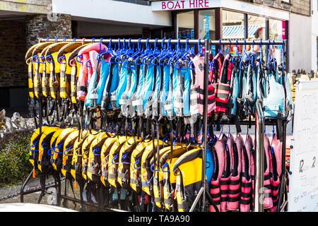 Life vests, flotation devices, PFD; life jackets, life preservers, life belts, Mae West, life vest, life saver, cork jacket, buoyancy aid, flotation - Stock Image