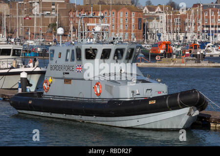 The UK Border Force's patrol vessel Nimrod in Ramsgate harbour, on 8th January 2019, in Ramsgate, Kent, England. Ramsgate is on the Kent coast, close to where small inflatables full of migrants have been crossing from France. The Port of Ramsgate has been identified as a 'Brexit Port' by the government of Prime Minister Theresa May, currently negotiating the UK's exit from the EU. Britain's Department of Transport has awarded to an unproven shipping company, Seaborne Freight, to provide run roll-on roll-off ferry services to the road haulage industry between Ostend and the Kent port - in the e - Stock Image