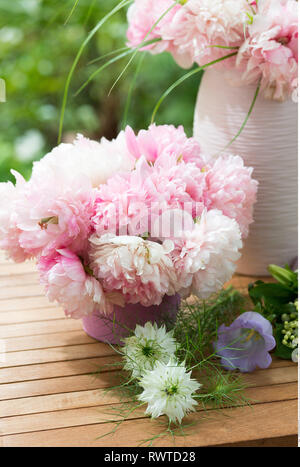 botany, deco with peony blossoms, Caution! For Greetingcard-Use / Postcard-Use In German Speaking Countries Certain Restrictions May Apply - Stock Image